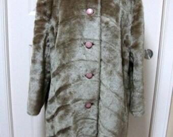 Vintage Silver Faux Mink Coat