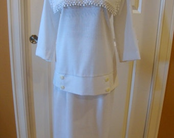Sweet Vintage White Linen-Look Suit