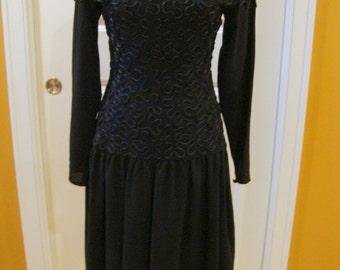 Gorgeous Vintage Black Dress with Soutache Trim