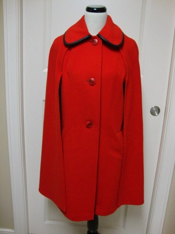 Fabulous Vintage Red Cape Coat by Penguin