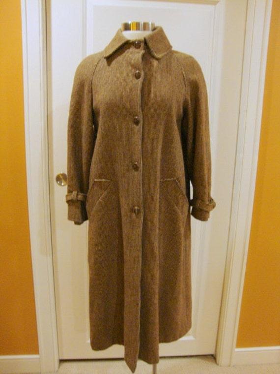 Classic Brown Tweed Wool Vintage Coat