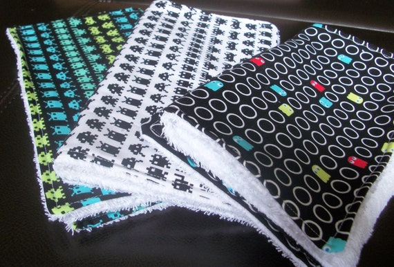 Arcade Burp Cloths - Set of 3