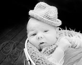 Crocheted Fedora Hat, Baby Boy Hat, Little Man Hat, Crocheted Fedora and Bow tie, Photography Props, Newborn to 3 months