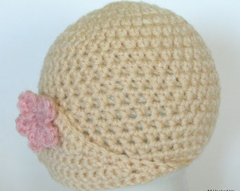 Crochet Baby Girl hat, Photography Prop, Vintage, Flapper, Crochet Flower Hat, baby shower gift, infant hats, baby girl hat