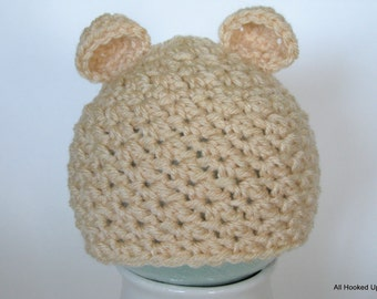 Crochet Bear Hat, Textured Hat, Baby girl hat, Baby boy hat, infant hats, Photography Prop, Gift, boy or girl