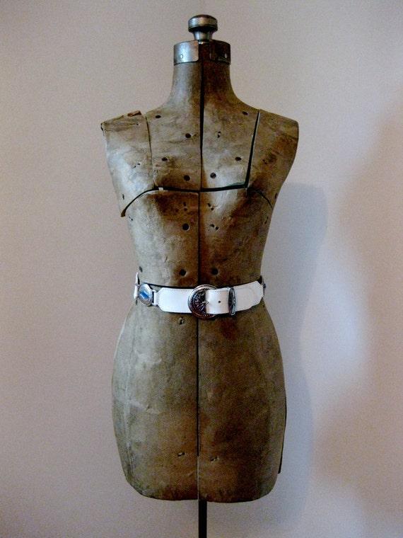 vintage 80s // Italian white leather statement belt // small