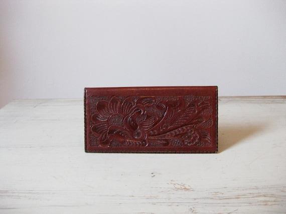 RESERVED //// oxblood tooled leather wallet // vintage 70s