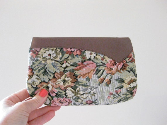 vintage floral tapestry and leather clutch