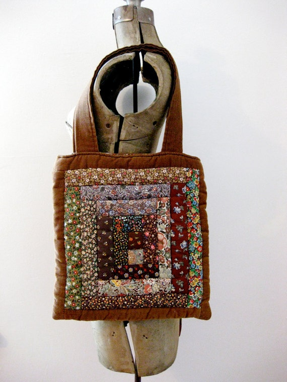 home ec // 70s quilted brown corduroy tote