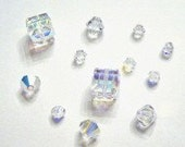 Clearance Sale -- 12 Swarovski Bicone/Cube Mix 4/6/8mm crystal beads CRYSTAL AB