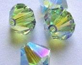 25 Swarovski Crystal Beads 4mm Bicone crystal beads CHRYSOLITE AB 2X