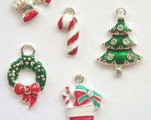 5 Enamel and Rhinestone CHRISTMAS CHARMS -- lot 3