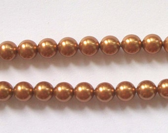 Clearance - 6mm Swarovski  PEARL style 5810 crystal beads COPPER -- 25 pieces
