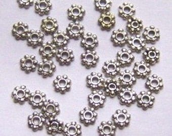 100 Antique Silver plated DAISY SPACERS -- 4mm jewelry findings