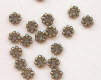 Clearance -- 4mm ANTIQUE BRONZE Daisy Spacers 100 pieces