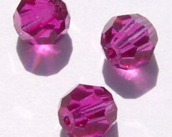 Swarovski crystal beads Round Crystal elements Beads 5000 FUCHSIA -- 4mm, 6mm and 8mm