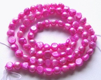 Clearance - 1 Strand FRESHWATER POTATO PEARLS 5mm Hot pink