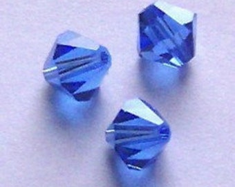 Swarovski crystal beads, BICONE Crystal Beads SAPPHIRE (blue)  --- Available in 3mm, 4mm, 5mm, 6mm and 8mm