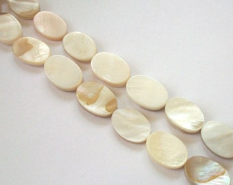 Clearance Sale -- Mother of Pearl (MOP) Oval 14x10mm Shell Beads WHITE