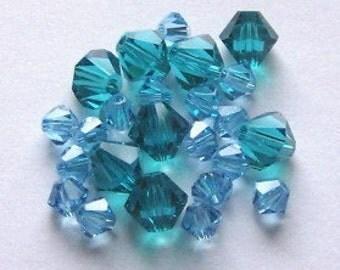 28 Swarovski 4/6mm Bicone 5328 Crystal Beads AQUAMARINE/BLUE ZIRCON