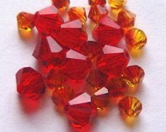 28 Swarovski Crystal Beads 4/6mm Bicone 5328 Crystal Beads FIRE OPAL/Light SIAM