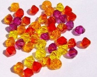 Swarovski crystal beads - 60 beads -- 5 different colors -- Swarovski 4mm BICONE 5328 Crystal Beads  SUNSET  MIX