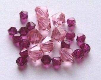 28 Swarovski Crystal Beads 4/6mm Bicone 5328 Crystal Beads FUCHSIA/LIGHT ROSE