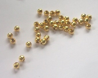 200 Gold Plated round SPACER Beads - 4mm