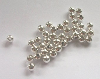 200 Silver plated round SPACER Beads - 4mm