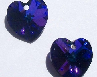 Swarovski crystal pendant 10mm crystal HEART Pendants Style 6202 HELIOTROPE -- Available in 10mm and 14mm