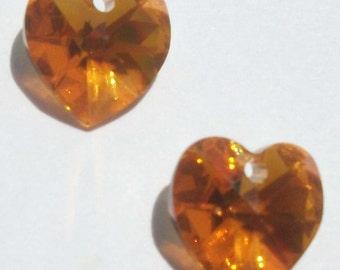 Clearance -- 2 Swarovski 10mm crystal HEART Pendants Style 6202 Topaz