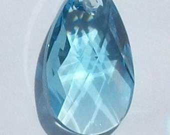 Swarovski Crystal Pendant crystal PEAR Pendant -- AQUAMARINE  -- Available in 16mm and 22mm