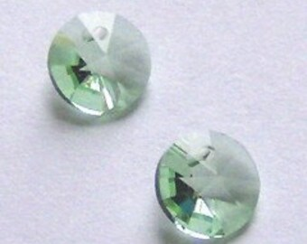 6mm Swarovski Crystal Pendants 6mm RIVOLI crystal pendant beads CHRYSOLITE -- 6 pieces