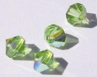 Swarovski Crystal 4mm Beads Bicone 5328 crystal beads PERIDOT AB -- 24 pieces