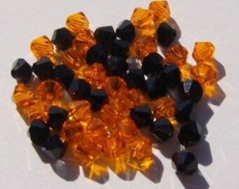 48 Swarovski Crystal Beads Halloween Mix Black and Orange- 4mm BICONE 5328 crystal beads JET/SUN (Great for Halloween)