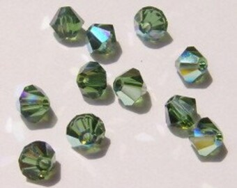 Clearance - 4mm Swarovski  BICONE style 5301 Crystal Beads Green TURMALINE AB - 24 pieces