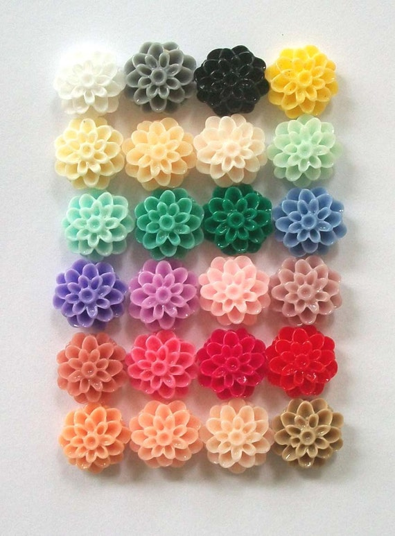 40 Resin CABOCHONS Dahlia Resin Flower Cabochons 13mm Mix and Match -- YOU DECIDE -- 24 colorful Resin flower cabochons to choose from