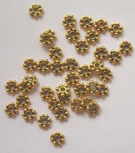 100 Antique Gold DAISY SPACERS 4mm jewelry findings