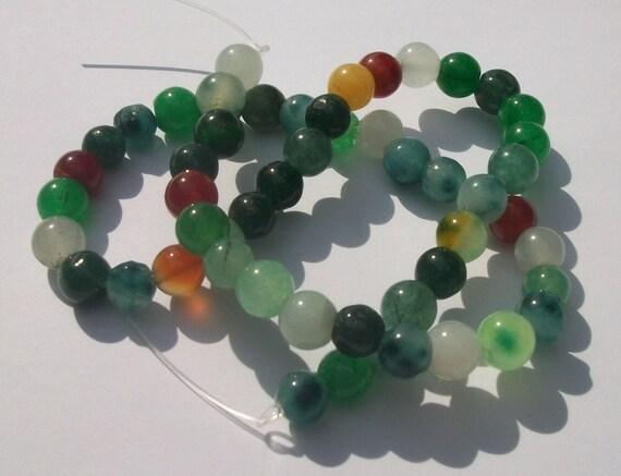 Gemstone Round Beads 8mm MULTI rounds -- 1 strand