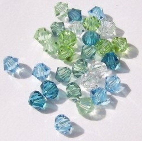 4mm Swarovski Crystal Beads-- 6 different colors -- 4mm BICONE style  5328 crystal beads  MIX 16 -- 60 pieces