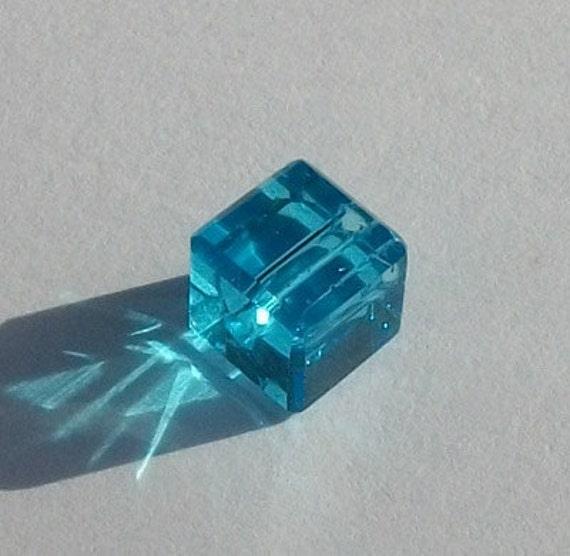Clearance Sale -- 6 Celestial Crystal Cubes 6mm crystal beads BLUE