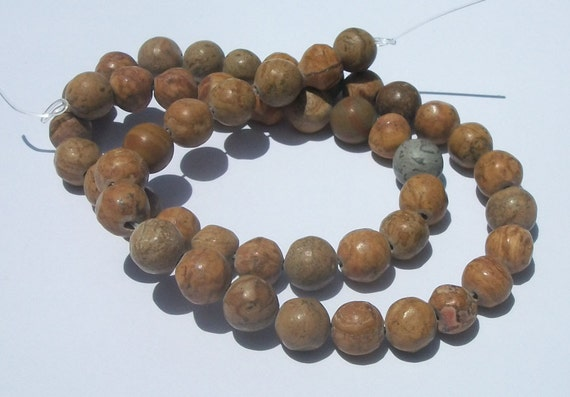 Clearance Sale -- JASPER,  Tigerskin 8mm Gemstone Round Beads - 1 strand