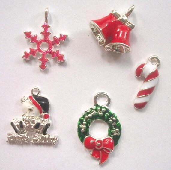 5 Enamel and Rhinestone CHRISTMAS CHARMS -- lot 2