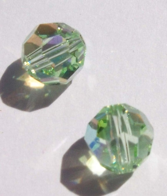 FREE Swarovski Crystal Beads Customer Appreciation 8mm Round Crystal Beads CHRYSOLITE AB, 2 pieces Limit one free item with purchase