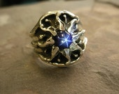 Vintage Design Sterling Silver Mens Sunburst Ring with a Star Sapphire