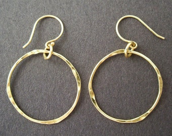 Hoop Earrings in Solid 14K Gold, Hand Forged, 1 Inch Diameter