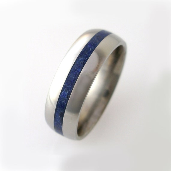 Titanium Lapis Inlay Band