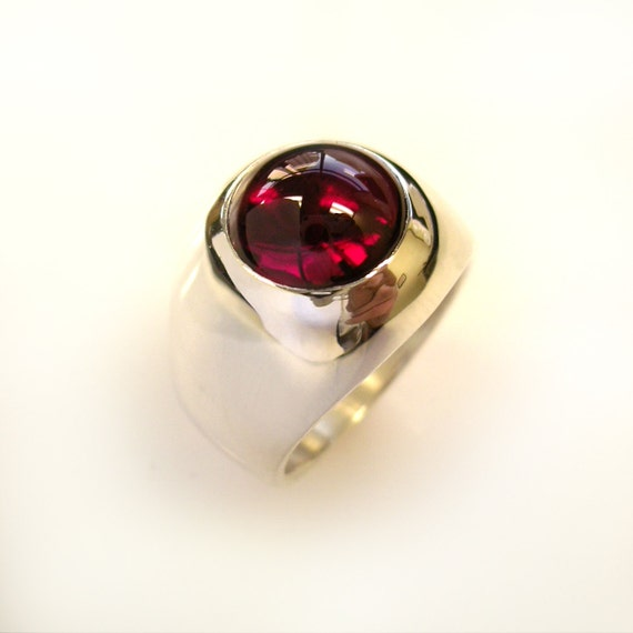 Mens Heavy Solid  Sterling Silver Round Ruby Ring