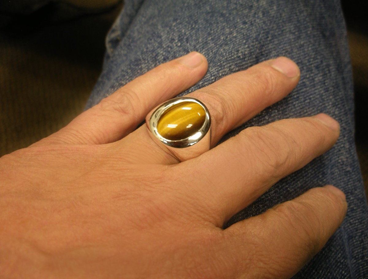 Mens Heavy Oval Tiger Eye Ring In Sterling Silver