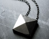 silver faceted pyramid necklace